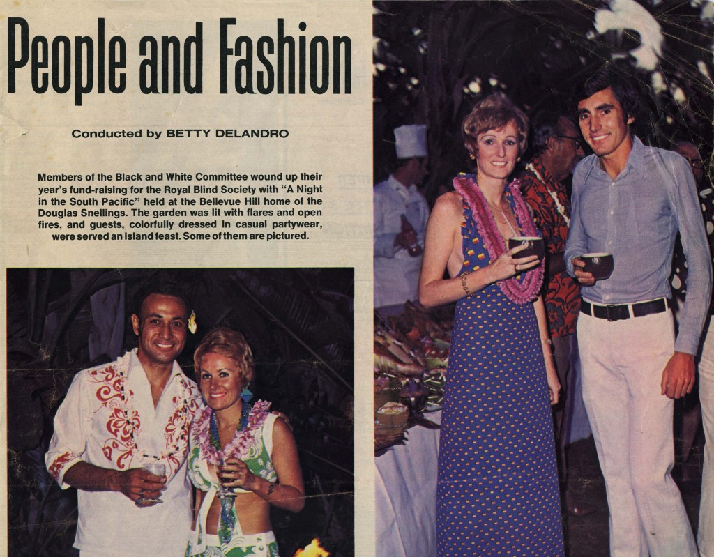Australian Women's Weekly coverage of a summer luau party at the Snelling house in 1972.