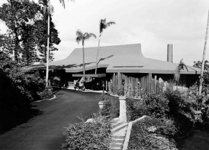Snelling's first 'thatched' roof, for the Kelly House II in Vaucluse, 1965. Photo Jim Whitelock.