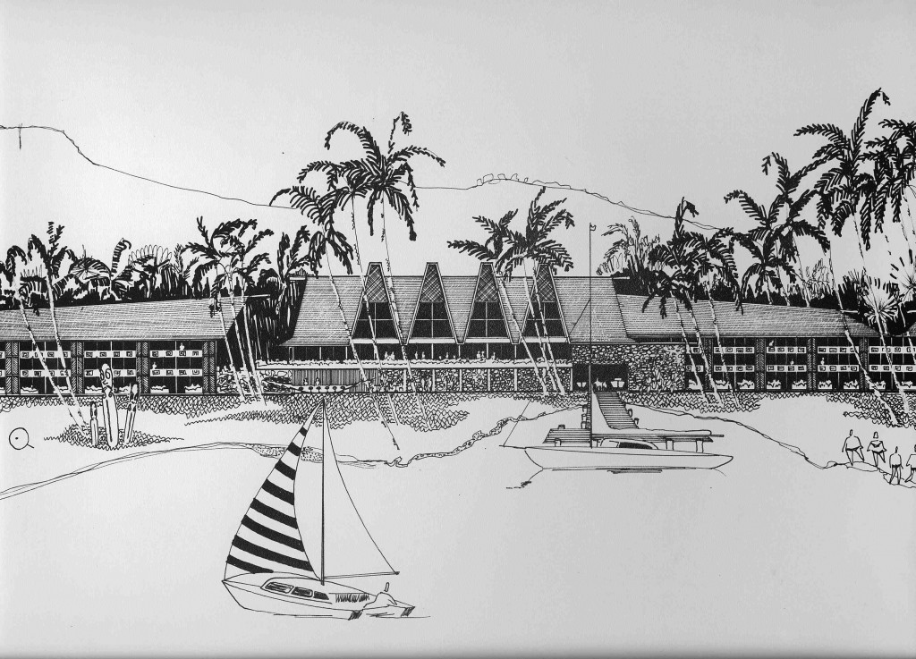 Snelling's unbuilt 1972 scheme for a commercial centre on Likuri Lei island near Nadi, Fiji. His favoured trio of Vanuatu totems are drawn at left.
