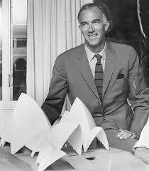 Jørn Utzon with a model of his late 1950s design for the Sydney Opera House.