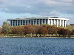 The National Library of Australia building in Canberra, opened in 1968, designed by Bunning and Madden.