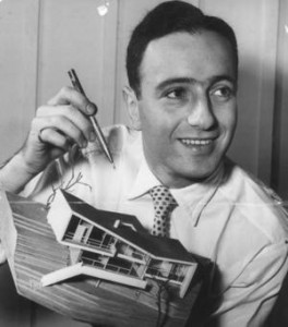 Harry Seidler with a late 1940s house model.