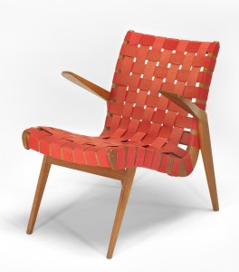 'Snelling line' armchair with hardwood frames and interlaced cotton webbing, designed 1946 by Douglas Snelling and manufactured by Functional Products Pty Ltd from 1947 to the mid 1950s. Donated to the National Gallery of Victoria by Terence Lane, 1981.